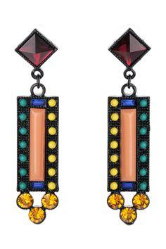 The drop earrings featuring geo pattern. Post back. Fashion Jewelry, Women Jewelry, Faux Stone, Bohemian Jewelry, Geo, Wind Chimes, Bling, Drop Earrings, Womens Fashion