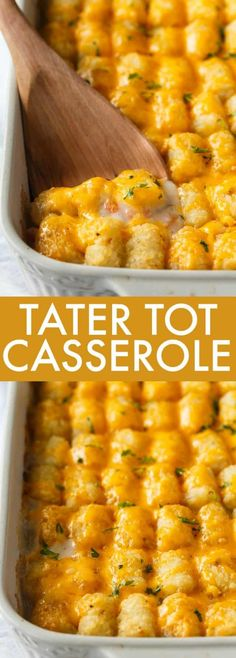 Tater Tot Casserole - A classic comfort food casserole your family will love! It has a layer of ground beef mixed with a creamy veggie sauce and topped with crispy Tater Tots and melted cheddar cheese. Tator Tot Casserole Recipe, Mexican Tater Tot Casserole, Tater Tot Recipes, Easy Casserole Recipes, Meat Recipes, Cooking Recipes, Catering Recipes, Corn Recipes, Hamburger Recipes