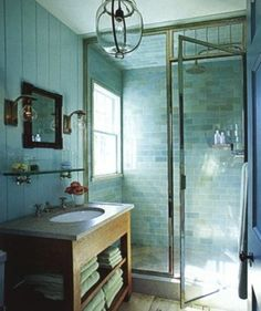 How-To DIY Article | 11 Simple DIY Ways To Make Your Small Bathroom Look BIGGER | Image Source:  Kitchens I Have Loved  | CLICK TO ENJOY... http://carlaaston.com/designed/11-easy-ways-to-make-a-small-bathroom-look-bigger (KWs: mirror, cabinet, closet, lighting)