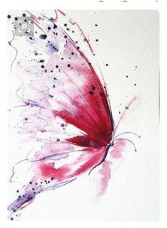 Butterfly Drawing, Butterfly Painting, Butterfly Watercolor, Watercolor And Ink, Watercolor Paintings, Pink Butterfly, Fairy Paintings, Watercolours, Art Papillon
