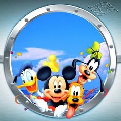 Mickey and Friends Porthole Disney Dream, Cute Disney, Baby Disney, Disney Magic, Disney Art, Disney Crafts, Disney Family, Mickey Mouse And Friends, Mickey Minnie Mouse