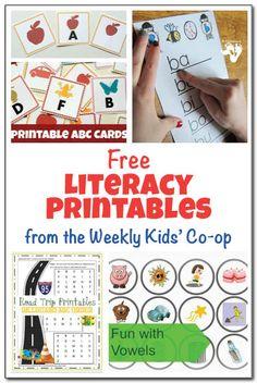 Free literacy printables {Weekly Kids' Co-op} - Gift of Curiosity Kindergarten Freebies, Preschool Literacy, Preschool Printables, Kids Learning Activities, Language Activities, Early Literacy, Fun Learning, Homeschool Kindergarten, Learning Letters