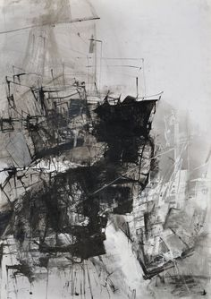 Ink Drawing, Original Contemporary Art, Abstract, Achromatic Drawing, Large Modern Black & White Picture, Unique Design Wall Art