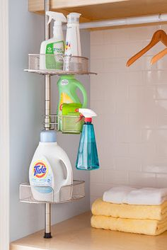 Use a tension rod in the laundry closet