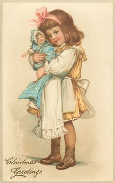CHRISTMAS GREETINGS  girl faces left cuddling doll with both hands - Art by FRANCES BRUNDAGE