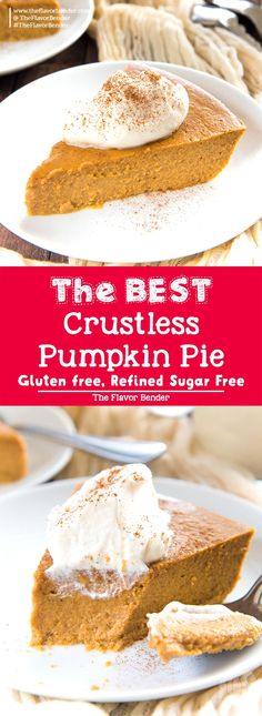 Pumpkin Pie pudding is so satisfying and silky smooth that you won't miss the crust at all! It's Gluten free and refined sugar free too. via Pumpkin Pie pudding is so satisfying and silky smooth that you won't miss the crust at all! Dairy Free Pumpkin Pie, Keto Pumpkin Pie, Pumpkin Pie Recipes, Pumpkin Dessert, Pumpkin Pie Crustless, Crust Less Pumpkin Pie, Pumpkin Pie Recipe Without Evaporated Milk, Pumpkin Pie Coconut Milk, Diabetic Pumpkin Pie Recipe