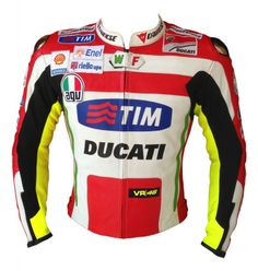Ducati's best outfit for riders, having steel armor at shoulders, full protection at elbows & back. High visibility colored leather used all over this jacket for night riders.