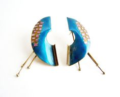 1980's Enamel over Sterling Silver Fringed by 20thObsession