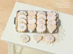 :: Crafty :: Clay :: Bakery :: Iced Butter Cookies on Metal Baking Sheet - Miniature Food in 12th Scale for Dollhouse