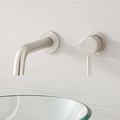 Buy the Signature Hardware 453228 Brushed Nickel Direct. Shop for the Signature Hardware 453228 Brushed Nickel Rotunda Wall-Mount Bathroom Faucet with Overflow and save. Mold In Bathroom, Wall Mounted Bathroom Sinks, Wall Mount Faucet, Bathroom Sink Faucets, Bathroom Renos, Small Bathroom, Master Bathroom, Bathrooms, Bathroom Remodeling