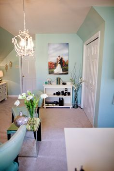 "LOVE!!! - Home office. Paint color: Sherwin Williams ""Waterscape"". House of Turquoise: Katelyn James"