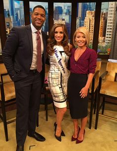 Miss America 2016 Betty Cantrell stopped by the show Live! with Kelly &  She looked splendid in her Joseph Ribkoff Dress IN STORE NOW at ASPIRATIONS. #MissAmerica2016 #josepribkoff #blackandwhite