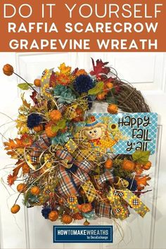 We have this raffia scarecrow wreath tutorial that's fun to make and is perfect for your fall front door decor! Diy Fall Wreath, Wreath Crafts, Fall Wreaths, Scarecrow Wreath, Wreath Making, Wreath Tutorial, Craft Night, Front Door Decor, Handmade Home Decor