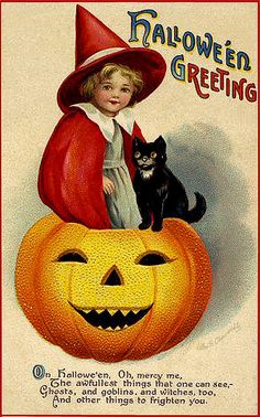 Vintage Halloween postcard * 1500 free paper dolls Arielle Gabriel's The International Paper Doll Society #QuanYin5 Twitter QuanYin5 Linked In *