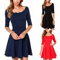 Pas cher Sexy femmes robe manches courtes ras du cou noir / rouge robe de bal Mini robe, Acheter  Robes de qualité directement des fournisseurs de Chine:            100% tout neuf et de haute qualité                             Couleur: noir et blanc rayé