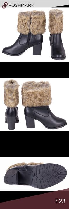 Women's Faux Fur Lined Leather Short Boots SB-2003 Women's Black Faux Fur Lined Faux Leather Short Boots SB2003 forever young Shoes Heeled Boots