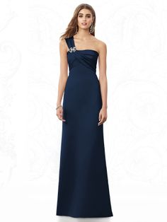 6e8eb52afa4 Glamour all the way and diamante detail with this one shoulder midnight  blue bridesmaid dress.