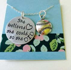 She believed she could so she did Necklace ,Hand Stamped Necklace,Inspirational Jewelry, Inspirational Necklace, Sports Team