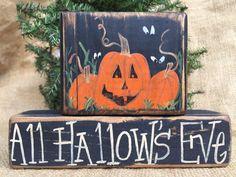 Primitive Jack-O-Lantern Pumpkins Eyes All Hallow's Eve Shelf Sitter Wood Blocks #PrimtiveCountry