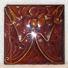 Antique Ceramic Art Nouveau Majolica Tile, c 1900 England/Scotland
