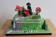 Motor bike birthday cake - Cake by Zoe's Fancy Cakes more at https://www.facebook.com/zoesfancycakes