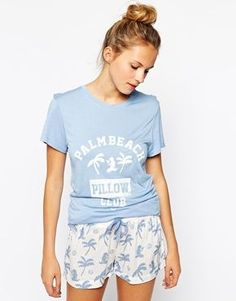 Shop Chelsea Peers Palm Beach Top & Shorts PJ Set at ASOS. Cute Pajama Sets, Cute Pjs, Pj Sets, Pajamas For Teens, Pajamas Women, Pajama Outfits, Cute Outfits, Cozy Pajamas, Womens Pyjama Sets