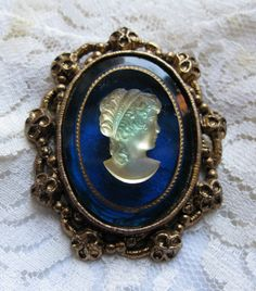 Vintage Cameo Blue Glass Brooch Pin