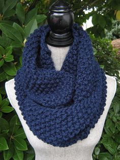 Women's Hand Knit Infinity Scarf  Knit Chunky by SwaddleinCloth
