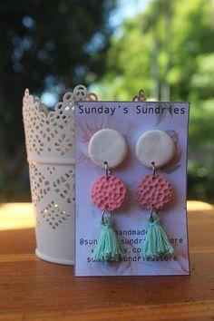 Polymer Clay Tassel Textured Earrings