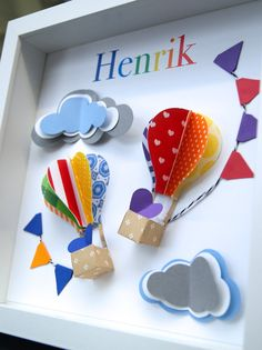Personalized Name Paper Origami Shadowbox Frame with Hot Air