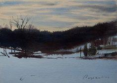 Winter Twilight- original watercolor by Joel Popadics