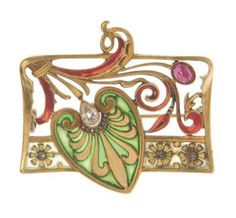 AN ART NOUVEAU ENAMEL AND DIAMOND BROOCH, BY GAUTRAIT Designed as a rectangular openwork 18k gold plaque centering upon a green plique-à-jour enamel and yellow enamel leaf, accented by a bezel-set pear-shaped diamond, with gold and red enamel scrolling detail and ruby accent, to the yellow plique-à-jour enamel and rose-cut diamond trim, enamel intact, ruby, nicely saturated, circa 1900, with French assay mark, shows signs of normal wear Signed L.Gautrait