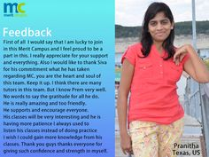 We feel good with #feedback - We would like to share with you all.  Merit CampusWe believe in giving the best and here isPranitha s feedback. - http://java.meritcampus.com/
