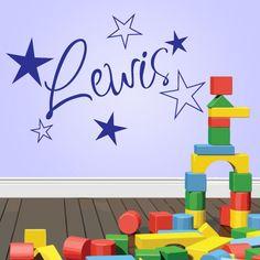 Personalised Name Stars Wall Art Boys or Girls Room Childrens Kids Sticker Vinyl