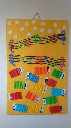 Preschool Music Activities, Bible Activities For Kids, Classroom Crafts, Music Classroom, Instrument Craft, Musical Instruments, Diy Paper, Paper Crafts, Music Bulletin Boards