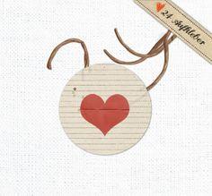 Herz Sticker, 24x, rot, creme, Gastgeschenke 40 mm von EINE DER GUTEN - Bücher für ein tolleres Leben auf DaWanda.com