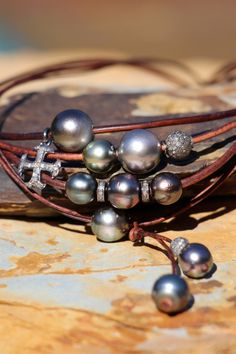 Tahitian Pearls w Pave Diamonds on Leather by HappyGoLuckyJewels