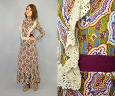 vtg 70's BOHEMIAN crochet bib long sleeve by discoleafvintage