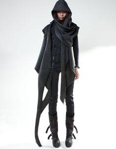 Top Shawl Shepard, dark grey knitted sleeveless reshape cardigan with hood // Demobaza