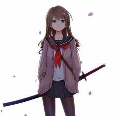 Judging from anime, about of Japanese girls carry samurai swords everywhere they go. Fanarts Anime, Anime Characters, Manga Anime, Anime Art, Dark Anime, Manga Girl, Anime Style, Kawaii Anime, Female Swordsman