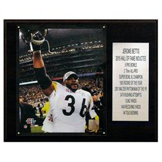 C and I Collectables NFL 15W x 12H in. Jerome Bettis Pittsburgh Steelers Career Stat Plaque - 1215BETTISST