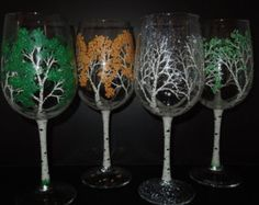 winter aspen wine glass with cardinal by 4SeasonsArt4You on Etsy