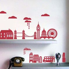 eu.Fab.com | Mini London Wall Sticker Red