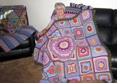 Edie with the 2014 CCC Social Group Cal block and Sophies Garden Blanket
