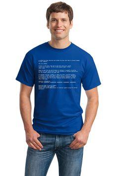 Amazon.com: Blue Screen of Death   Geeky Windows Error, Funny Computer Nerd Unisex T-shirt: Clothing