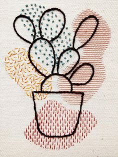 Items similar to Prickly Pear Cactus Organic Shapes Embroidery Hoop Art Hand Embroidery Patterns Flowers, Cactus Embroidery, Hand Embroidery Art, Embroidery Stitches Tutorial, Creative Embroidery, Simple Embroidery, Modern Embroidery, Embroidery Ideas, Diy Embroidery Crafts