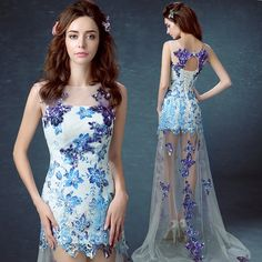 Blue and white porcelain bride married toast annual dinner show will be short in front long bridesmaid wedding dress