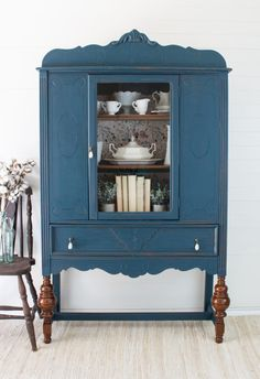 Pretty Blue Painted Hutch. Painted Furniture. Homestead Blue Milk Paint by Homestead House.