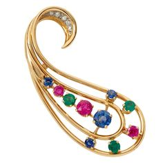 French Jean Fouquet Sapphire Emerald Ruby Diamond Gold Brooch | From a unique collection of vintage brooches at https://www.1stdibs.com/jewelry/brooches/brooches/