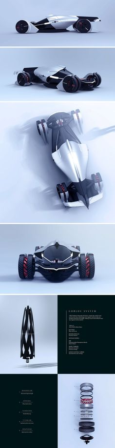 Each free-standing wheel of the Tesla T1 is strictly based on the Gorlov wind turbine concept which allows air to be channeled from any angle. This eolic system was integrated to provide an independent air suction turbine in each of the four wheels. This canalizes the air through ducts leading to a larger 5th and final turbine at the rear of the vehicle.